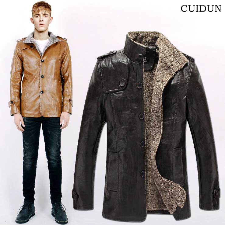 2015 winter new leather jacket young man, PU plus velvet motorcycle jackets free shippingОдежда и ак�е��уары<br><br><br>Aliexpress