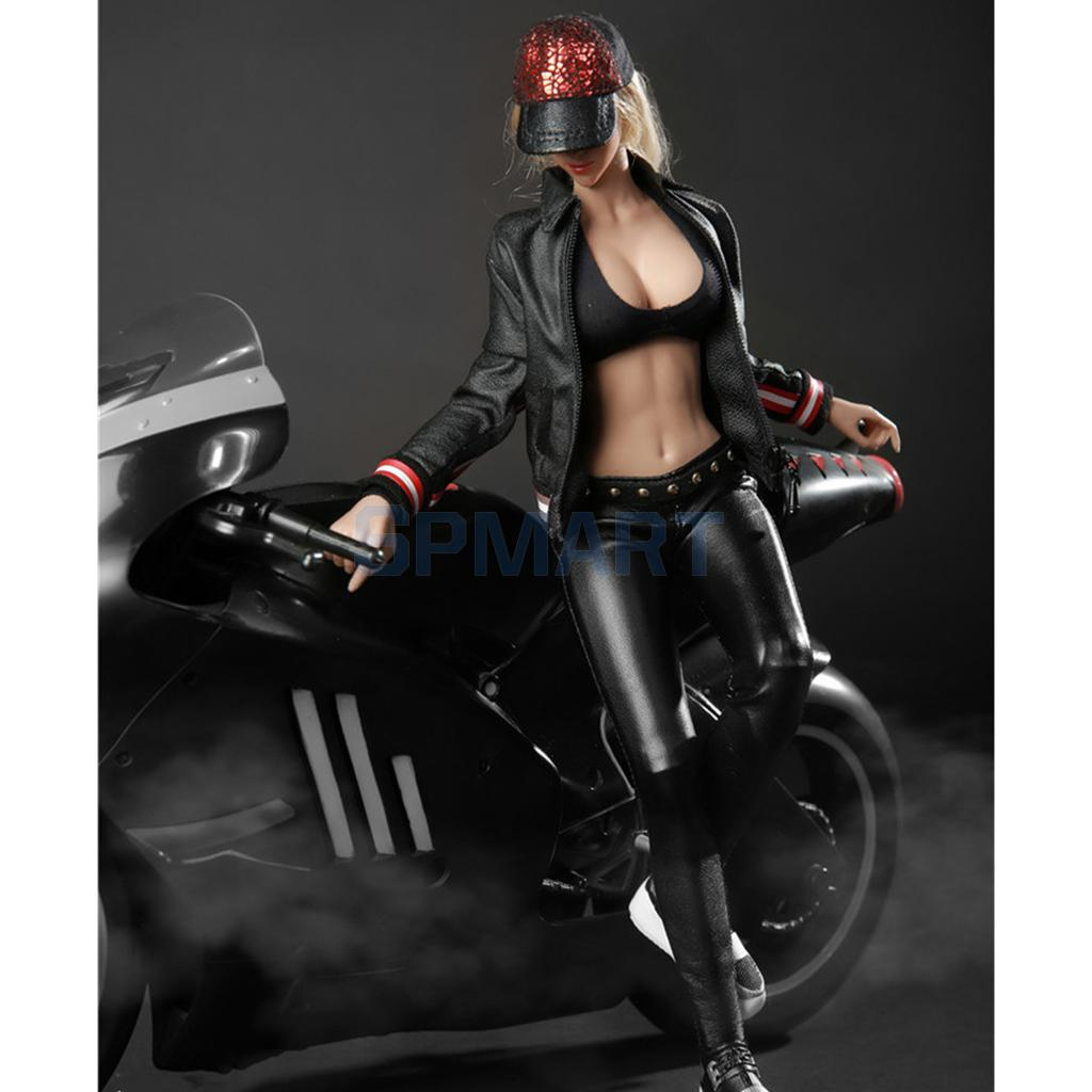 1/6 Scale Female Motorcycle Clothes Racing Suit with Hat Shoes Set Model for 12\`\` Action Figures Doll Toys DIY Accessories