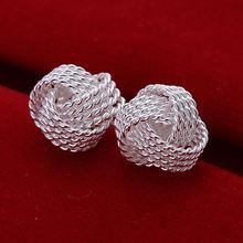 Factory price top quaility 925 sterling silver jewelry earring fashion net ball stud earrings free shipping SMTE013