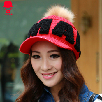 2013 winter female version of the autumn and winter yarn baseball cap letter hair bulb plus velvet thickening warm hat