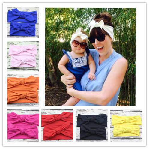 hot selling Mom and Me boho Turban Headband Pair Set Top Knotted Headband Set Fashion Baby and Mommy Cotton Headwrap Set(China (Mainland))