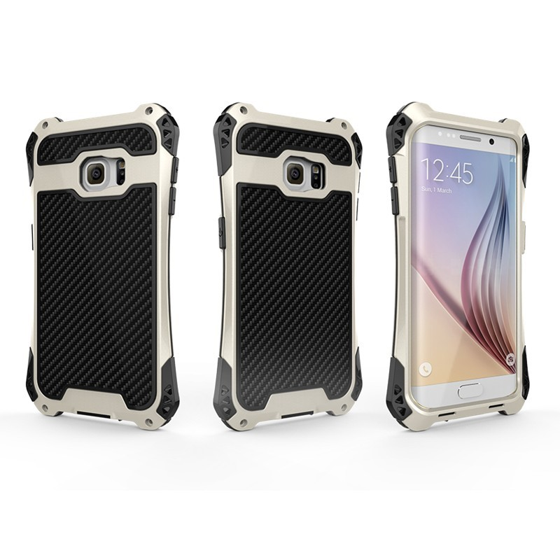 AMIRA Waterproof Aerospace Aluminum Metal Carbon Fiber Element Hard Protector Case For Samsung Galaxy S6 Edge Plus Phone Cover(China (Mainland))