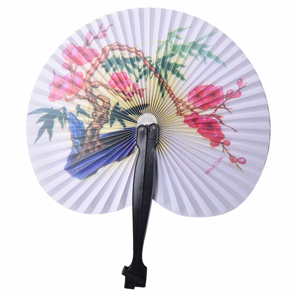 Round Painting Folding Fan Wedding Bridal Favors House Decoration Folding Paper Fan Practical Party Supplies Paper Hand Fan 1PC(China (Mainland))