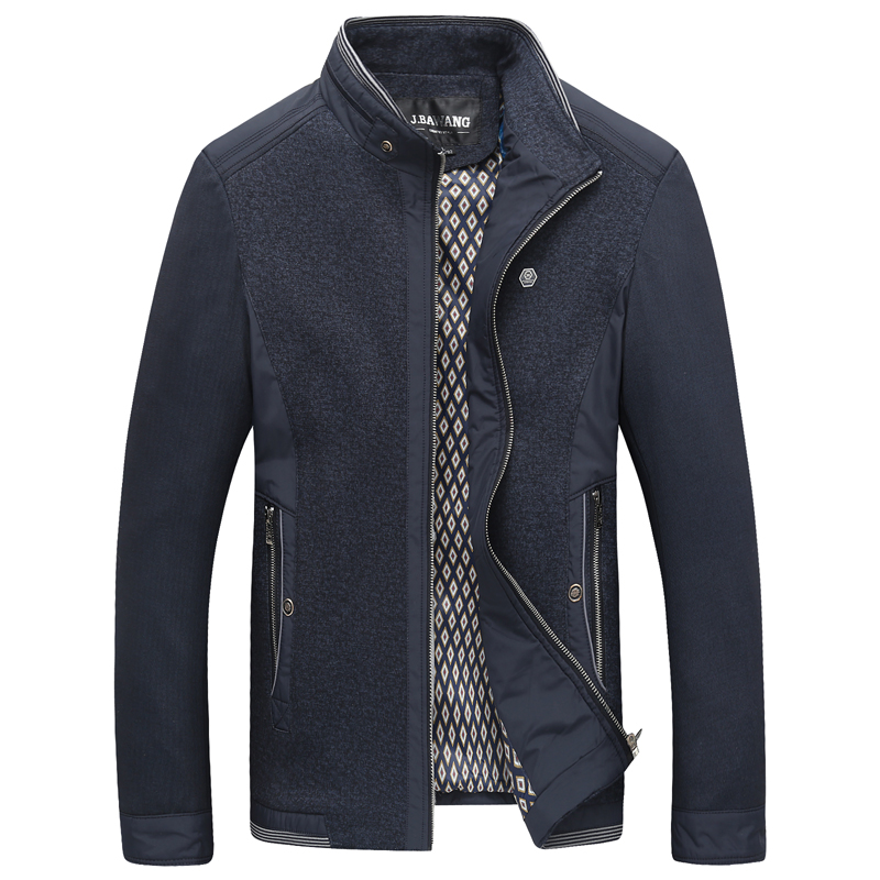 2015 new fashion autumn winter men casual patchwork jacket mandarin