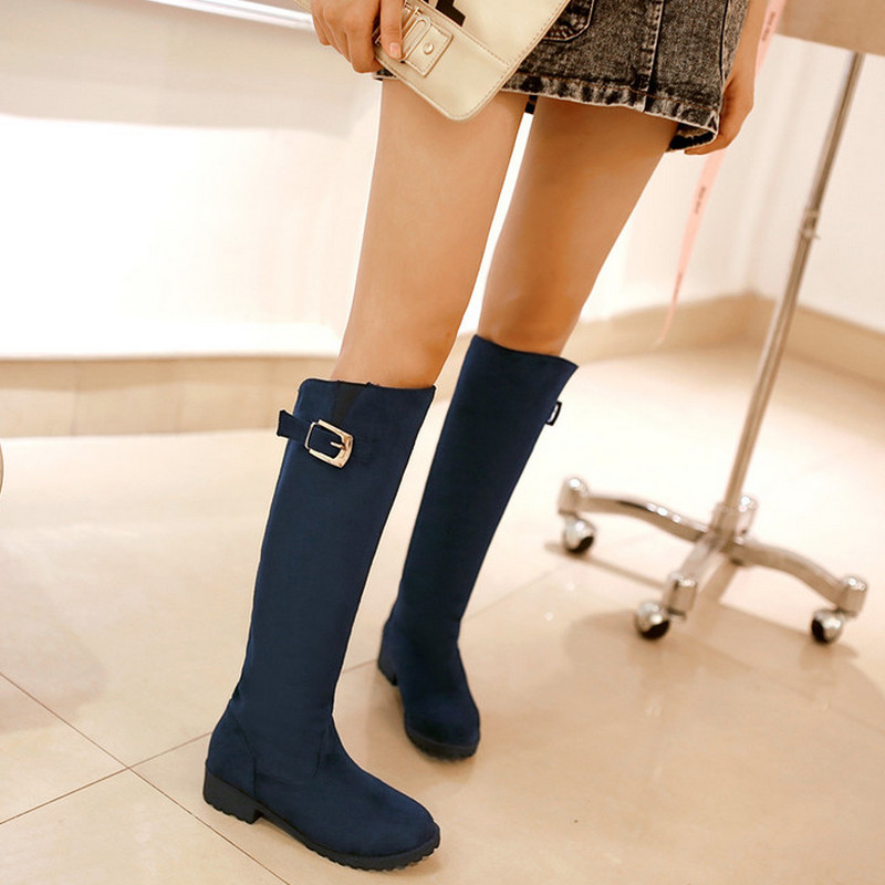 2015 New Fashion Sexy knee high boots Low Heel Winter Autumn boots Slip-on Leisure Women Boots