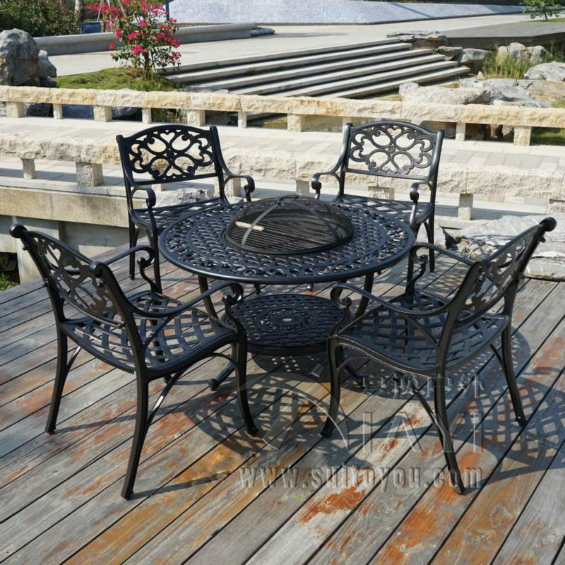 5-piece Best-selling cast aluminum Outdoor furniture,BBQ table and K/D chairs(China (Mainland))