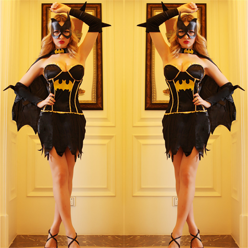 2015 Girls Woman Game Real shot Black Batman Female Superman Role Playing U.S.A Classic Cosplay Halloween Costume CSN504 - 3&M store