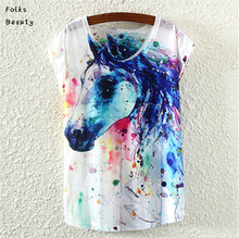 Printed T Shirt Women Brand 2015 Summer Tops Ropa Mujer Animal Owl Print T shirt White