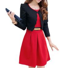 2016 Women Business Uniforms Suits Long-Sleeve Jackets And Tailored Dress Two Piece Conjunto De Blazer E Vestido Feminino WAT671(China (Mainland))