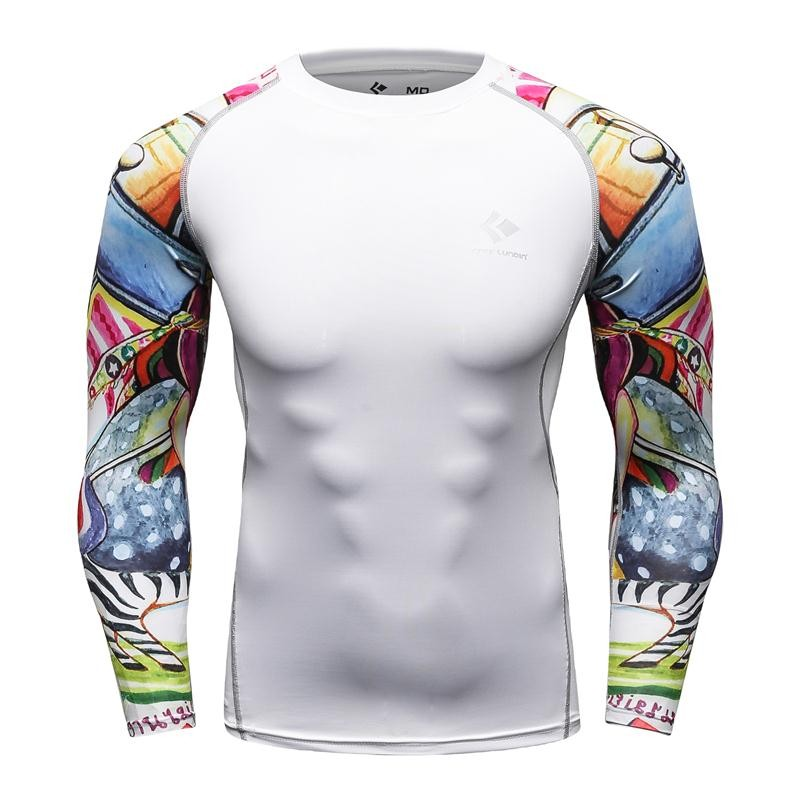 Men Compression Shirts for Male Fashion 3D Full Prints Fitness   Skin Tights Long Sleeve Men's Tshirt