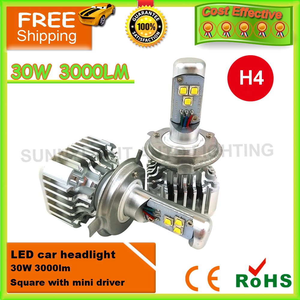 2x Plug&Play 30W 3000LM CREE LED H4 H4-3 HB2 9003 H7 H8/9/11 9005 9006 WHITE BULB DRL Fog HEADLIGHT NO NEED BALLAST RELAY(China (Mainland))
