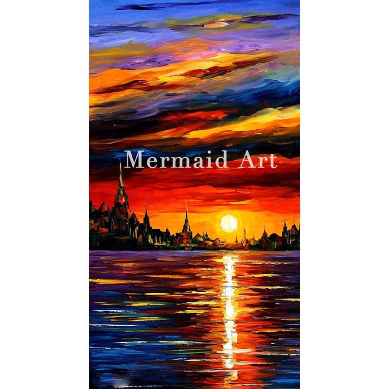 Buy Hand Painted Landscape Abstract Sunset Seascape Artwork Palette Knife Modern Oil Painting Canvas Wall Living Room Artwork Fine cheap