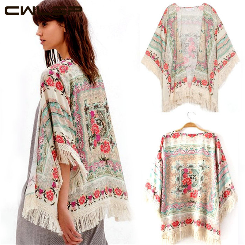 CWLSP 2014 Women New Tassel Regular Floral New Antique Flower Fringed Shawl Sweater Chiffon Kimono Cardigan Coat Jacket SH109(China (Mainland))