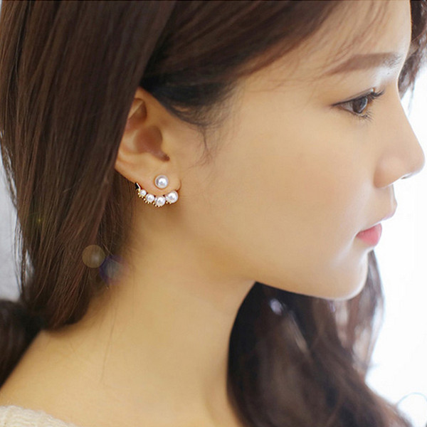 Wholesale 12pair 2015 Fashion brand earring jewelry luxury bijoux crystal pearl gold stud earrings for women pendientes A1002(China (Mainland))