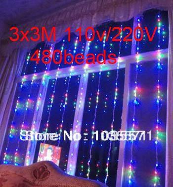 3x3M 480beads 110V Flashing Window Curtain Lights Decoration LED Waterfall Lights Holiday Christmas Wedding Ceremony Light(China (Mainland))
