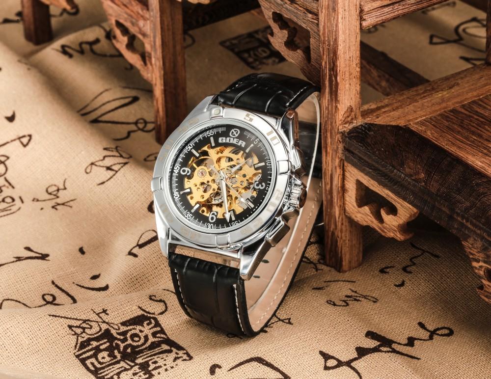 GOER марка мужские механические часы Автоматическая Скелет Кожа Световой цифровой водонепроницаемый мужчины Наручные часы черный белый