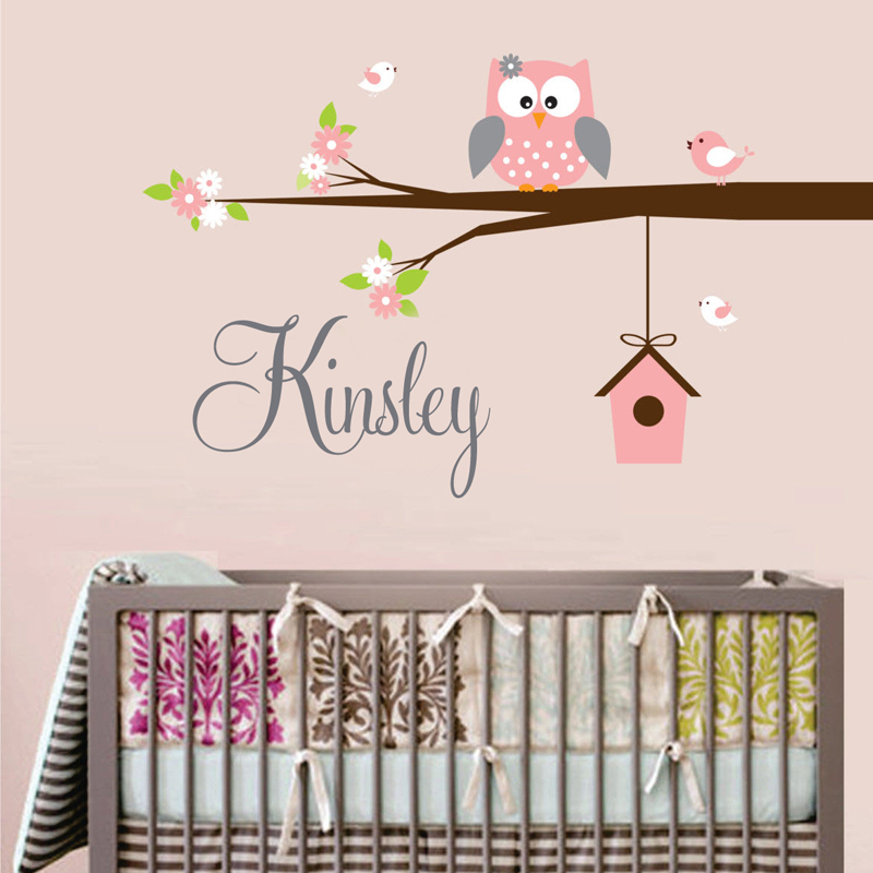 Personalized Name Owl Wall Decal With Birds Birdhouse Children Nursery Wall Decals Vinyl Lettering Wall Art For Kids Room Decor(China (Mainland))