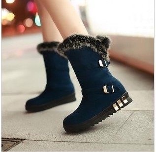 Female Snow Boots Autumn & Winter Platform Genuine Leather Rabbit Fur Flat Knee-high Slip-resistant Cotton Snow Boots(China (Mainland))