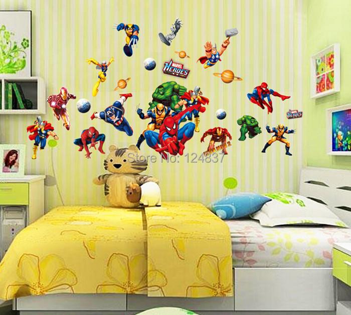 Baby kids room stickers cartoon spider man decals home decor wallpaper