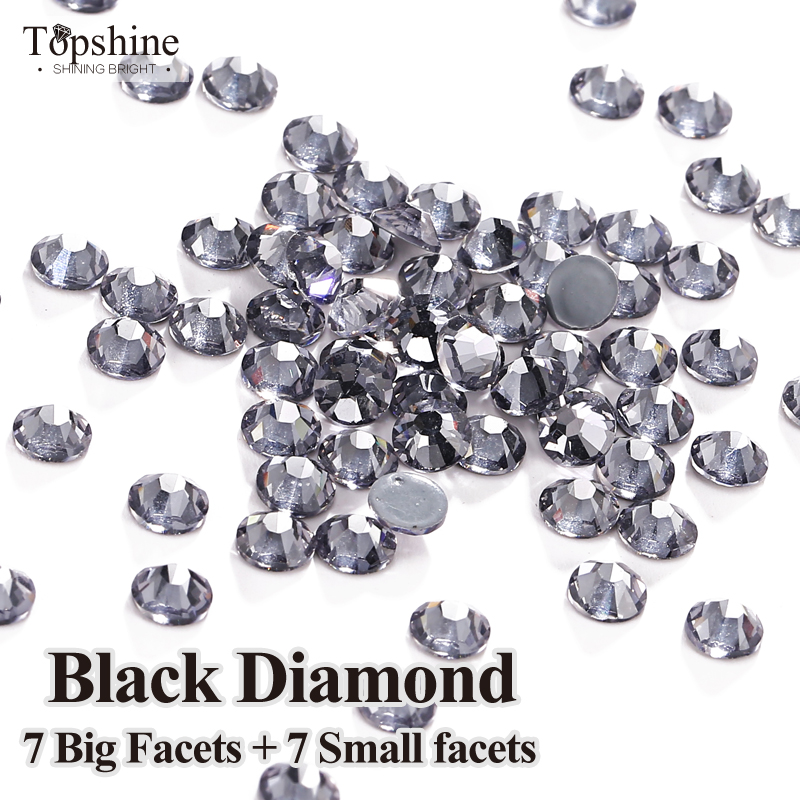 SS16 SS20 Glitter 1440 Pcs Glass Material Black Diamond Original 7 Big + 7 Small 14 Facets Hotfix Rhinestones(China (Mainland))