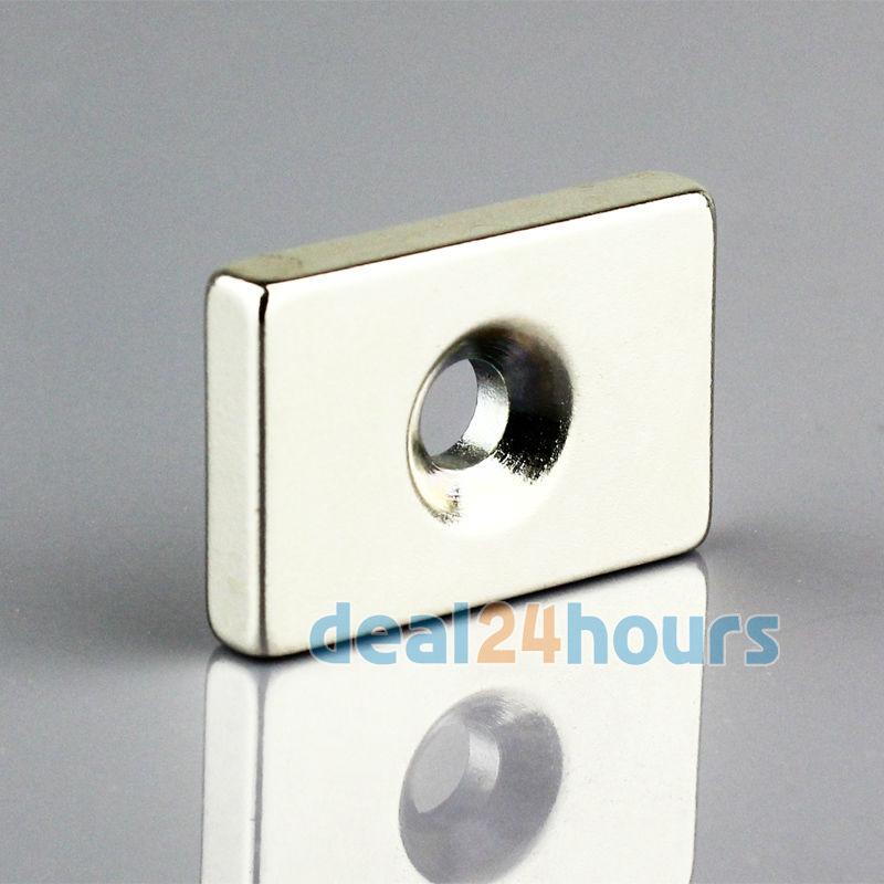Гаджет  1PC Strong Block Countersunk Rare Earth Neodymium Magnets 30 x 20 x 5 mm hole 5mm N35 Grade Free Shipping None Строительство и Недвижимость