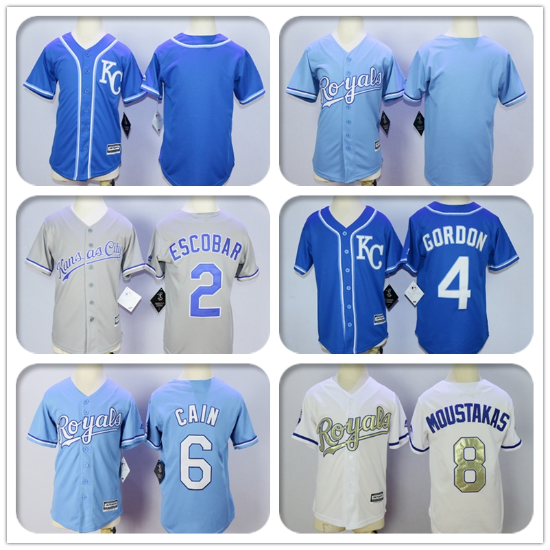 Youth 2 Alcides Escobar #6 Lorenzo Cain #4 Alex Gordon Jersey Color White Royal Blue Gray Gold Kids Baseball Jerseys(China (Mainland))