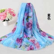 196*146cm 2016 Chiffon Scarf Shawl Vintage Elegant Ladies Long Silk Chiffon Scarf Designers Scarf Women Summer Beach Cover Up(China (Mainland))