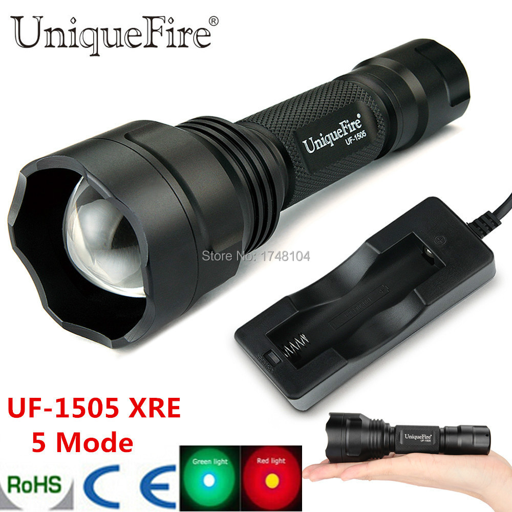 2015 Uniquefire Zoomable XRE LED Flashlight 5 Switch Mode 450Lumens 38mm Convex Lens Free Shipping<br><br>Aliexpress