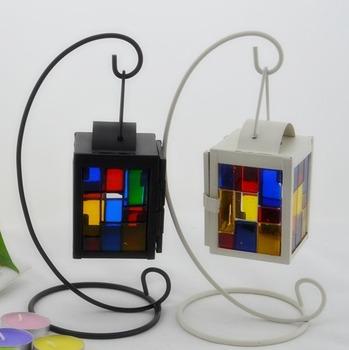 Fashion iron glass lantern home decoration candle holders glass pillar candle holder