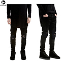 HZIJUE 2017 New Black Ripped Jeans Men With Holes Super Skinny Famous Designer Brand Slim Fit