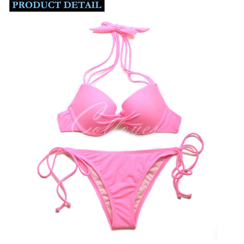 2015 New Sexy Pink Add-2-Cups Halter Top Side tie Bikini Swimwear Set with Push-up Molded Cups in Low Price Free Shipping(China (Mainland))