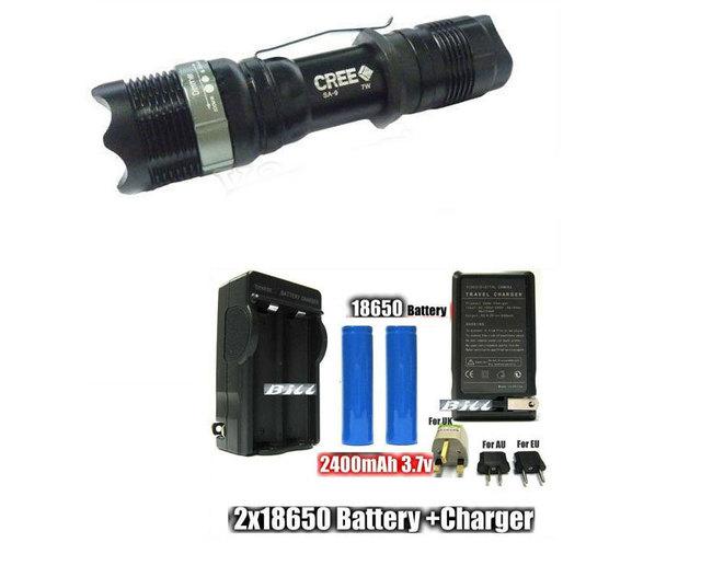 10set SA 9 Flashlight 250 Lumens 7W CREE Q5 LED Flashlight Torch Aluminum Zoomable Flashlight + HOLSTER