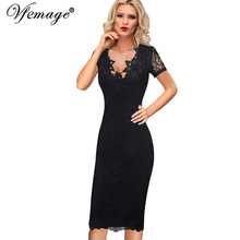 Buy Vfemage Women Sexy Elegant 3D Crochet Flower Lace Party Evening Mother Bride Work Casual Special Occasion Bodycon Dress 4686 for $23.99 in AliExpress store