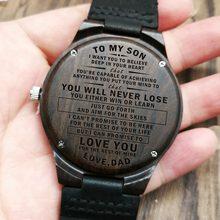 W1800-1 a mi hijo-grabado reloj de madera de sándalo cinturón relojes de lujo automática relojes de cuarzo reloj para niños cumpleaños regalo de graduación(China)
