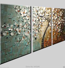 Hand-painted modern home decor wall art picture white flower palette thick Knife oil painting  on canvas for  living room(China (Mainland))