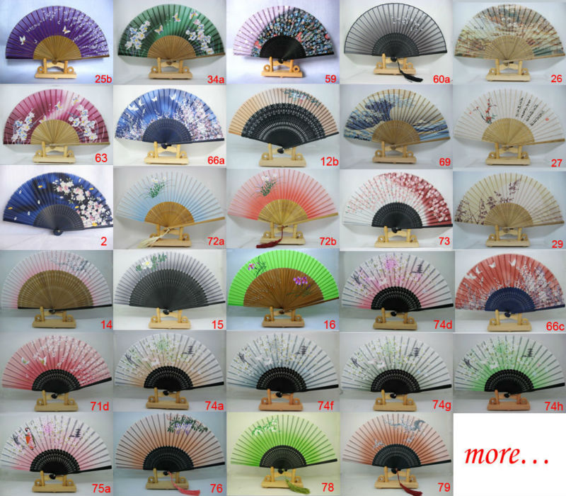15pc Hand Held Bamboo 100% Silk Folding Fan With Free Tassel Wedding Favor,free shipping