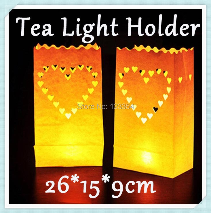 50pcs Heart White Heart Tea Light Holder Luminaria Paper Lantern Candle Bag For Christmas Party Home Outdoor Wedding Decoration(China (Mainland))