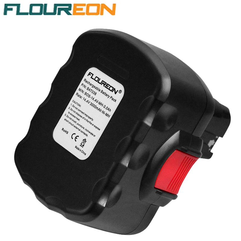 FLOUREON BAT038 14.4V 3000mAh Power Tools Rechargeable Batteries Pack Replacement Cordless for Bosch Drill 3660CK Ni-MH Black(China (Mainland))