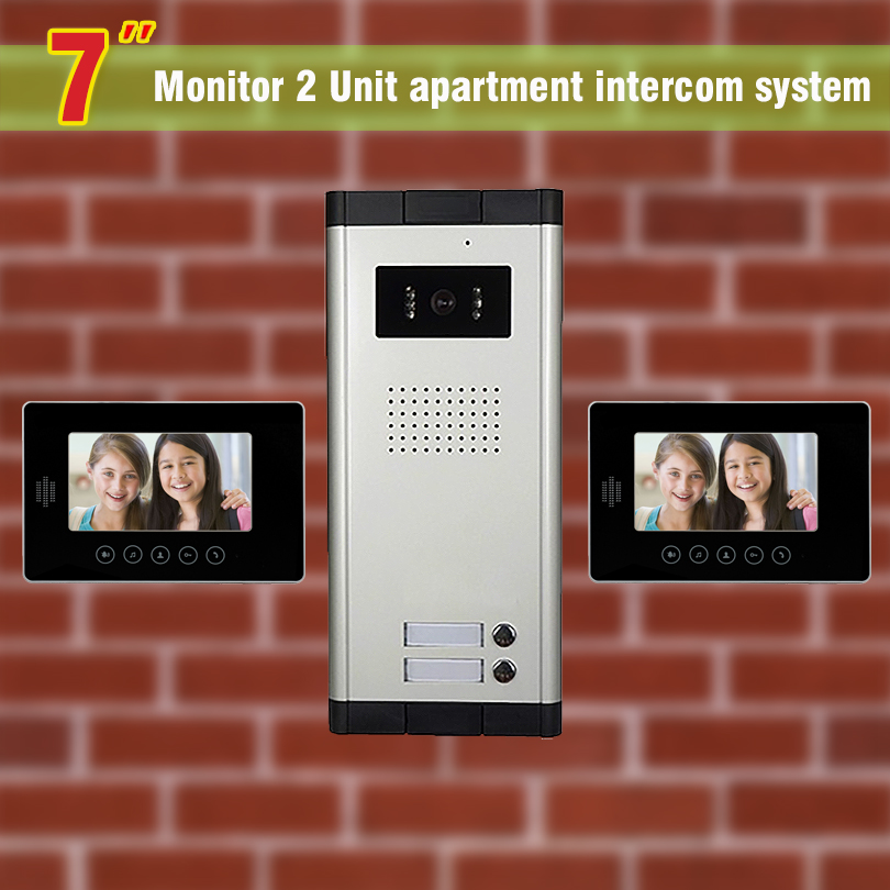 2 units apartment intercom system video door phone intercom doorbell for apartment video intercom home intercom system(China (Mainland))