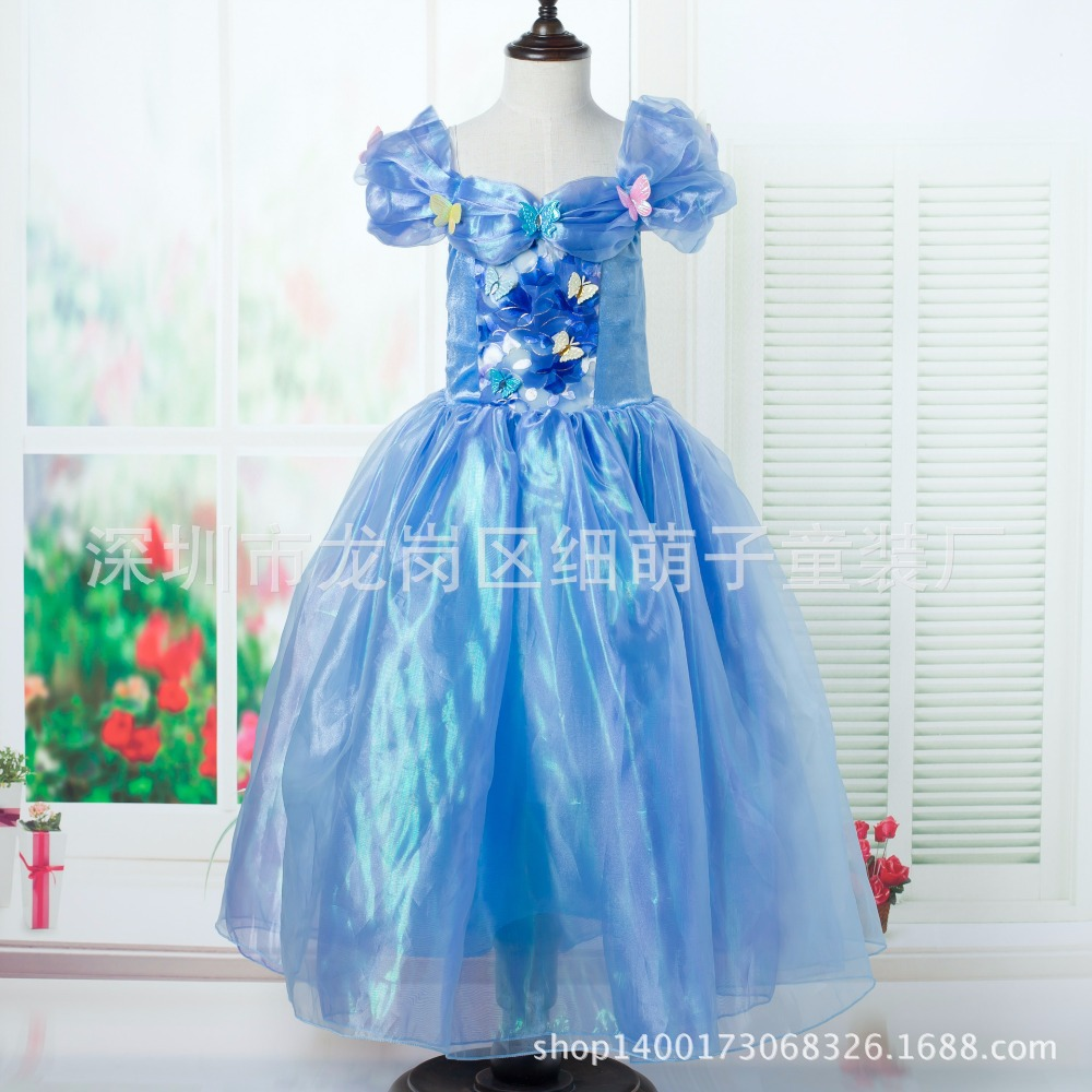 2015 New Cinderella Kids Dress Fashion Blue Princess Girl Dress With Butterfly For baby girl Cosplay Costume Girl Fancy Dresses(China (Mainland))