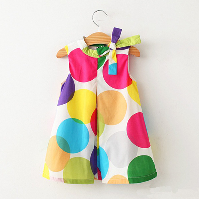 Girls dresses clothes 2016 new summer lovely kids wear wave bow dot colorful leisure fashion dress children clothing(China (Mainland))