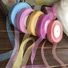 Cotton 15mm 50 Yard/Rolls 44M Transparent Silk Organza Polyester Ribbon For Wedding Party Decoration Webbing Gift Packing Belt(China (Mainland))