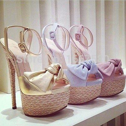 Shoesofdream Womens Summer Ankle Strap Peep Toe Beautiful Bowtie Sweet Sandalia 2015 Wedding Dress High Heel Shoes<br><br>Aliexpress