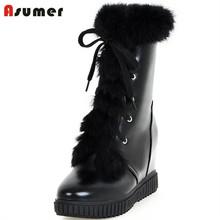 ASUMER Ocio de moda botines con cordones sólidos de aumento de la altura mujeres botas de plataforma botas de nieve en invierno colegio viento zapatos(China (Mainland))