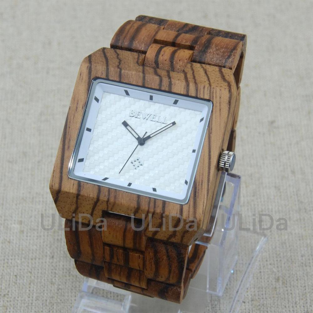 OverSize Face Natural Bamboo Sandalwood African Zebra Wood Men Bracelet Dress Watch +Gift box<br><br>Aliexpress
