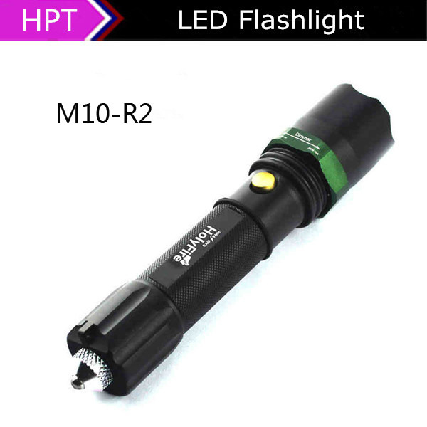 Excellent safe hammer High quality Cree R2 led flashlight 18650 or 3*AAA rechargeable led flash light self defense Free shiping(China (Mainland))