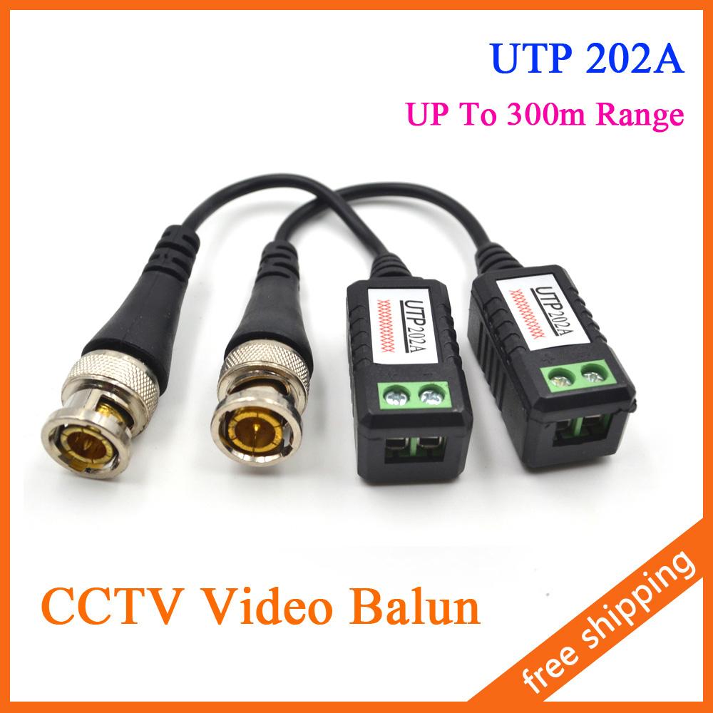 CCTV Video Balun Passive Transceiver UTP 202A BNC Cat5 UP to 300m Range(China (Mainland))