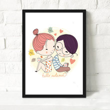 Love A4 Cartoon Wall Art Canvas Painting Oil Print Poster Romantic Sweet Wall Picture For Wedding Room Home Decor No Framed(China)