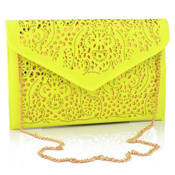 2015 мода национальные женщины тенденции сумочку вырез конверт клатч плеча женщин сумки посыльного bolsa feminina желтый