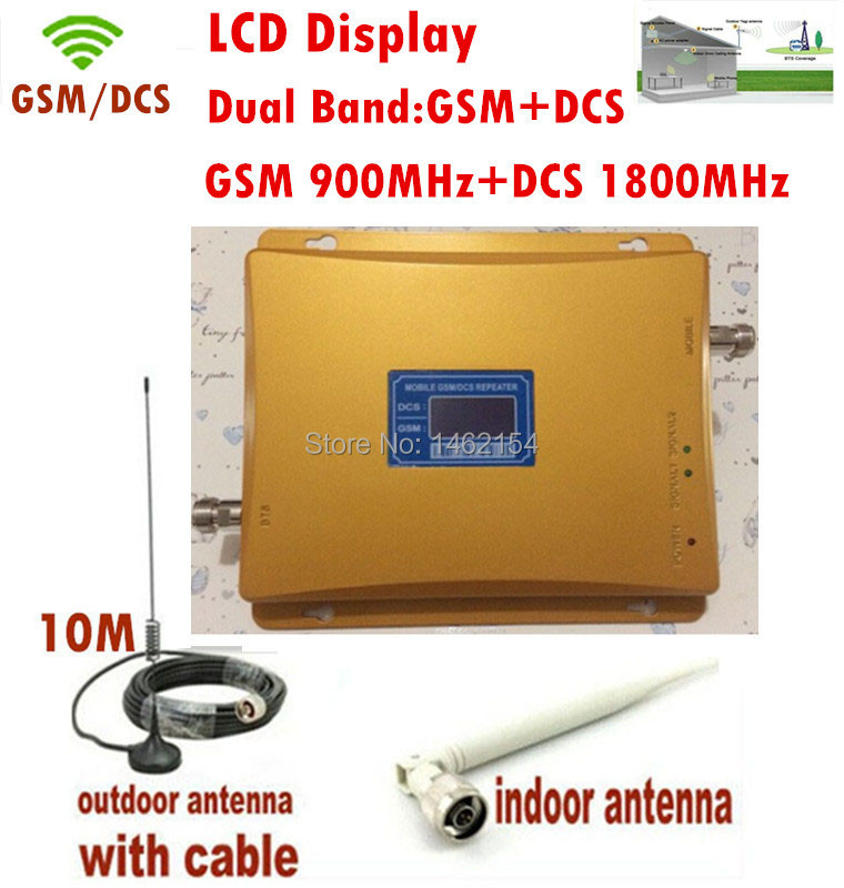 LCD Display !! Dual Band GSM 900MHZ & DCS 1800mhz Signal Booster GSM Repeater DCS amplifier +indoor outdoor antenna 1Sets(China (Mainland))